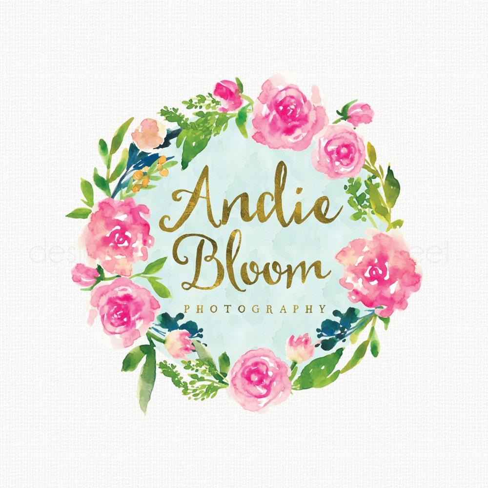 Premade Watercolor Vintage Rose Flower Wreath Logo Design Gold