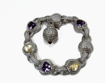 JUDITH RIPKA Amethyst Bracelet, Sterling Silver, 8 Inch, Gold Leaf, Heart Bracelet, Estate Jewelry, Pave Set CZ Stone, 925 Silver