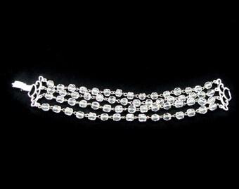 Kramer Crystal Bracelet, Multi Strand, Vintage Jewelry, Glass Bracelet, Vintage Bracelet, 1950s Jewelry, Bridal Bracelet, Bead Bracelet