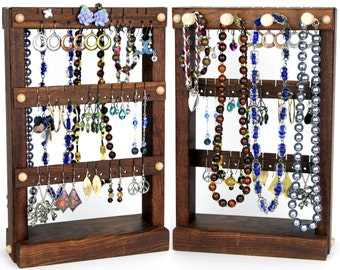 Jewelry Holder Stand, Earring Organizer, Caribbean Rosewood, Necklace Holder. Holds up to 30 pairs, 4 pegs. Jewelry Display, Earring Holder