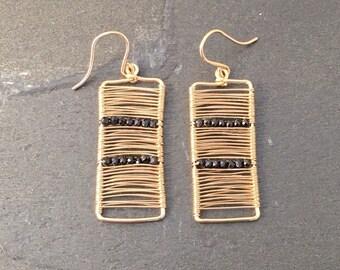 14k gold Wire Wrapped Rectangle Earrings with Black Spinel beads; Minimalist Earrings Modern Earrings Dainty Jewerly