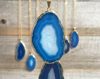 Agate Slice Necklace, Geode Slice Necklace, Geode Jewelry, Aqua Jewelry, Agate Jewelry, Layering Necklace