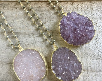 FLASH SALE 50% Druzy Necklace, Drusy Necklace, Amethyst Necklace, Pyrite Necklace, Long Gold Necklace, Druzy Quartz Jewelry