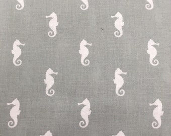 Grey Seahorses - Quilting Cotton Fabric - BTY