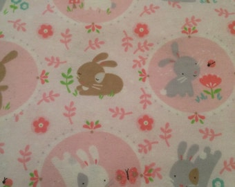 Easter Bunnies - Pink - Flannel - fabric BTY