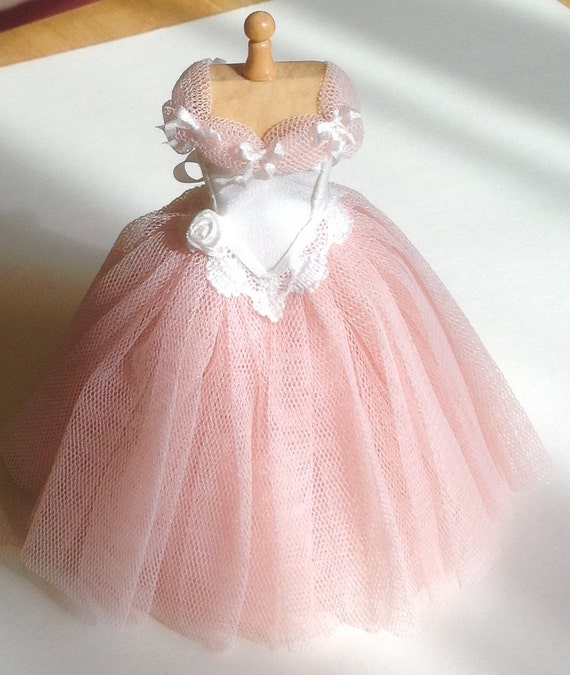 Pink net ball gown on mannequin 1/12th scale dollhouse miniature handmade