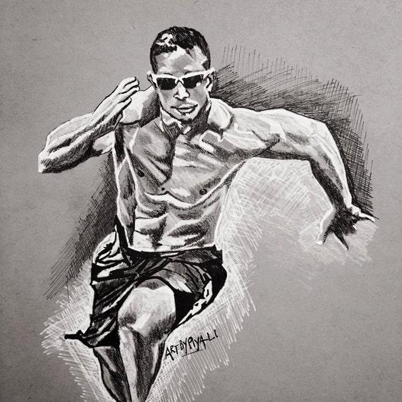 Custom Athlete Sketch From Photo Crossfit Spartan OCR