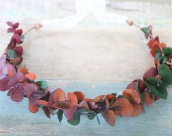 Full Eucalyptus Wedding Flower Crown, Autumn Wedding, Fall,  Bridal Headpiece, headpiece, Flower Head Wreath, Rustic Wedding, Floral Crown