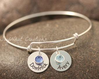 Sterling Silver Adjustable Bangle Bracelet Hand Stamped with Names and Birthstones