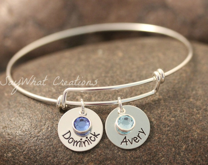 Sterling Silver Adjustable Bangle Bracelet Hand Stamped with Names and Birthstones