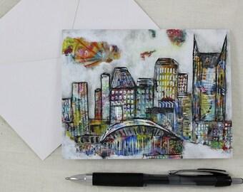 Note Cards Stationery Nashville City Skyline Art Print