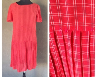 HALF OFF Vintage 1970s Red and White Plaid Drop Waist Pleated Sheer Dress M/L (i)