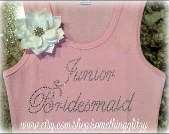 Junior Bridesmaid Rhinestone Tank, Junior bridesmaid, Junior Bridesmaid Bling,Junior Bridesmaid shirt, Junior Bridesmaid Tee, Jr. Bridesmaid