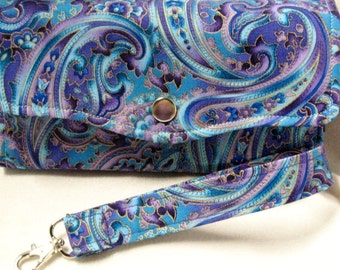 NCW  Purse / Cell Phone Wallet / Purple Paisley