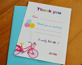 Girl Bike and Scooter party / Outdoors party : Personalized Thank you cards - Set of 12