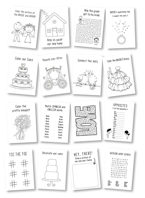 Wedding coloring book / Kids wedding favor / rustic wedding
