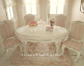 French dining room table and chairs - 1:12 dolls house dollhouse miniature
