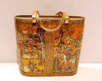 Delill Bag Vintage Miniature Painting Print Bucket Bag Quilted Purse Fabric Gold Trim Exotic 1950s 1960s Cosmetic Case Vinyl Covered Art Bag