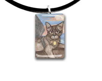 Brown Tabby cat, Fantasy art glass tile pendant, Bengal, spotted cat, Angel cat, fairy