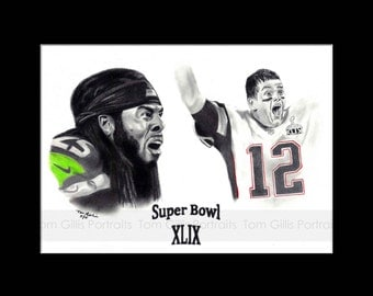 portrait drawing of Tom Brady & Richard Sherman:  Super Bowl XLIX (matted print)