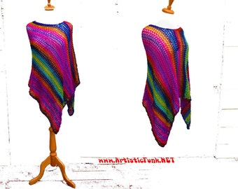 Poncho, Rainbow Poncho, Asymmetrical Poncho, Women's Poncho, Boho Poncho, Boho Clothing, Boho Fashion, Plus Size Poncho, Colorful Poncho