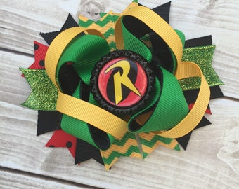 NEW ITEM Boutique Baby Girls Layered Robin Hair Bow Batman and Robin Hair Clip Batman Birthday Super Hero Hair Bow Robin