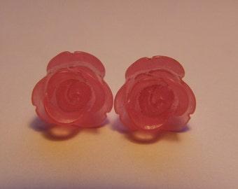Light PInk Rose Stud Earrings    697
