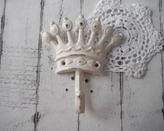 antique white crown hook cottage chic bedroom decor coat hook French country tiara hook nursery hook nursery decor hanger paris apartment