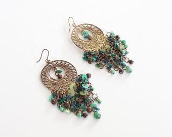 bohemian 70s chandelier earrings - boho luxe dangle earrings / beaded brass wire earrings - festival jewelry / 60s . 70s hippie jewelry