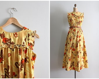 vintage 60s Hawaiian muumuu - tiki print maxi dress / Ti'a - vintage 60s maxi dress / mid century luau dress - golden yellow Hawaiian print