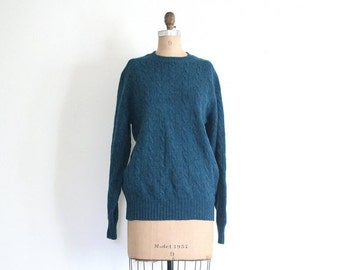 SALE / vintage 80s shetland wool sweater - crewneck preppy cable knit / Rich Teal - peacock blue / Archie Brown & Son of Bermuda - 1980s pre