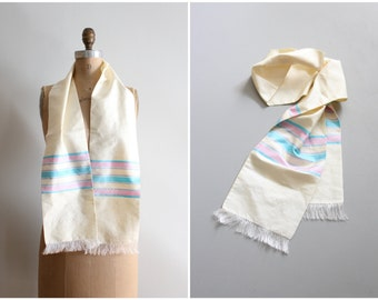 vintage 1950s raw silk opera scarf - silk eyelash fringe / bubblegum pink & turquoise stripes - silk neck scarf / 50s striped silk scarf