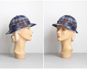 vintage 70s blue plaid tartan wool cap - ladies Scottish wool hat / Lochcarron - Autumn hat / Scotland wool tartan hat - Fall hat