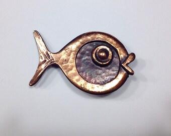 Vintage Rebajes Copper Jewelry Designer Brooch Nautical Jewelry Rare Beauty