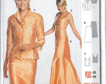 Burda 8374 Womens Formal Evening Bridesmaid Party Dress Sewing Pattern UNCUT Size 10, 12, 14, 16, 18, 20, 22 and 24
