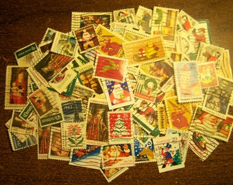 Lot of 100 Christmas Postage Stamps - United States - Vintage to Modern