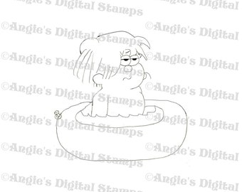 Boy In Pool Digital Stamp Image