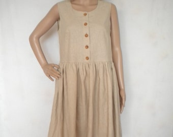 linen dress knee length babydoll dress gathered waist buttoned up sleeveless dress made to order