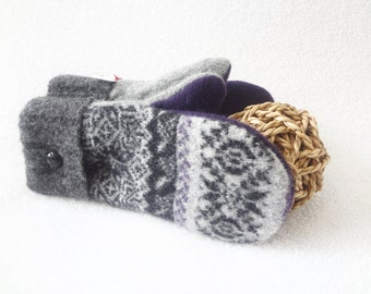 Wool Mittens PURPLE & GRAY with Black Fair Isle Sweater Wool Mitts Nordic Fleece Lined Mittens Eco Gift Under 50 for Women by WormeWoole
