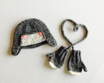 MADE TO ORDER Aviator Earflap Hat and Mittens, gray and white mittens and hat set, custom sizes