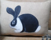 Primitive Handpainted Folk Art Bunny Pillow Black and White small
