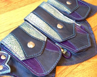 Ready to Ship XS REGAL Recycled Leather Regal Pocket Belt Burning Man Apocalyptic Utility Festival Mad Max black violet green metallic