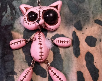 Crazy Kitty Pink Faux Plushy Pendant Charm, Removable polymer clay sculpture one of a kind jointed fun focal piece