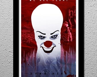Stephen King's IT Pennywise the Clown - Minimalist Horror Art Poster Print