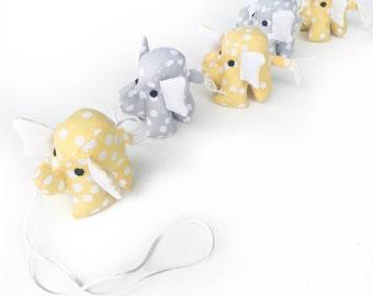 Elephant Garland in yellow ; elephant toy, elephant decor, yellow elephant
