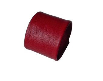 "Red Leather Cuff bracelets Vampire Diaries Christmas gift Minimalist Leather Wrist Cuff Men Women Unisex  1 3/4"" width Soft leather cuff"