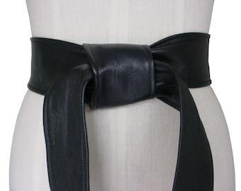 """Classic Leather Belt Wardrobe Essential Wide Black Leather Sash 2.5"""" Belt Soft Leather Belt Black Leather Tie Belt 2 1/2 inch Lambskin Belt"""