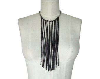 Chain necklace - Leather fringe necklace - on stainless steel chain - dark brown  & silver  vintage chain up-cycled leather
