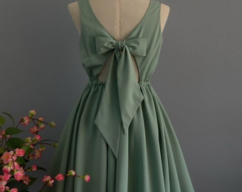 A Party V - Lolita Dress Sweet Lolita Backless Dress Sage Green Dress Sage Green Bridesmaid Dress Sage Green Party Dress Summer Dress XS-XL