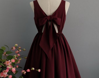 Maroon dress red dress backless dress red party dress red prom dress red cocktail dress bow back dress dark red bridesmaid dresses maroon